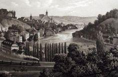 1860 after Rüdisühli SCHAFFHAUSEN Steam Train - steel engraving with aquatinta