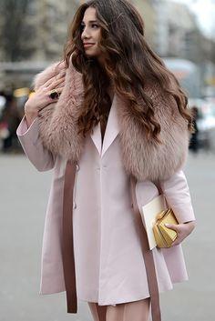 Pastels in street style. La vie en rose at Paris Couture Week 2015.