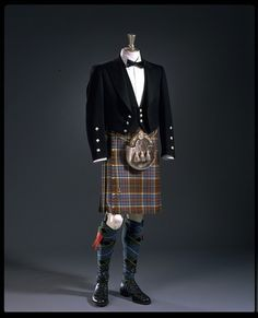 Kinloch Anderson (Maker), Anderson tartan worsted kilt with a black woollen barathea jacket and waistcoat. Scotland, 1996.