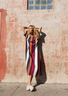 TOMS & OTHER STORIES Combining length and multi-coloured stripes with premium cotton, slits on the side and a tie-waist design that creates a flattering dress for easy wear.