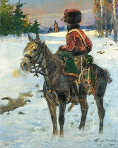 Hussar in the Russian countryside 1812