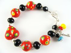 Glass Bead Bracelet, Red Lampwork Bracelet, Black Beaded Bracelet, Lampwork Jewelry, Yellow Colorful Bracelet, Beadwork Bracelet