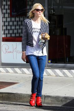 Jaime King looking effortlessly cool in my #rachelzoe Brando jacket...love it with staples and statement boots!