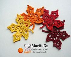 Crochet pattern Maple leaf by marifu6a Skill Level: Intermediate. Material : any yarn. I use 100gr-350 mt (dk) hook 3 mm This is easy to follow TUTORIAL CROCHET PATTERN with written instructions in E