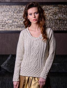 62bc801bcca389 Luxury Aran Plaited Neck Sweater