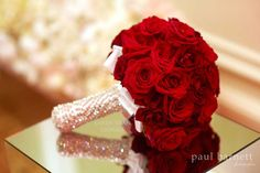Red rose bridal bouquet for Old Hollywood style wedding