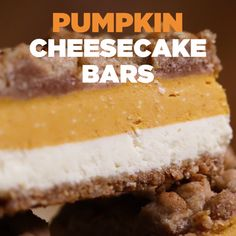Pumpkin Cheesecake Bars - Pumpkin Cheesecake Bars // La mejor imagen sobre he - Thanksgiving Desserts, Holiday Desserts, Just Desserts, Delicious Desserts, Dessert Recipes, Yummy Food, Holiday Foods, Easter Recipes, Recipes Dinner