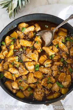 Pineapple Chicken Teriyaki - sweet and tangy homemade teriyaki sauce with tender chicken and pineapple. Serve over rice for a quick and easy dinner.