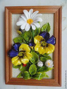 """Купить """"Глазастые ромашки"""" - панно, полимерная глина, картина - керамическая флористика, цветочное панно"""