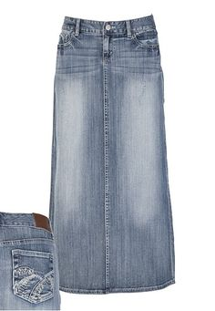 long jean skirt $38 // this website has cute Jean skirts ...