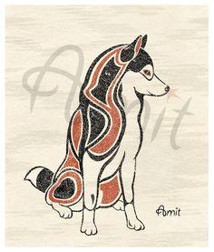 northwest style siberian husky print