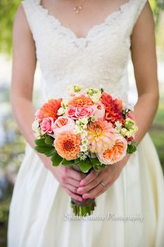 Zinnia roses orange pink bouquet - Spark Creative Photography LLC www.sparkcreativephotography.com