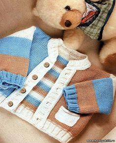 tri-color jacket with pockets Mais Knitting Patterns Boys, Knitting For Kids, Baby Patterns, Knit Or Crochet, Crochet For Kids, Crochet Baby, Baby Cardigan, Baby Boy Jackets, Knit Baby Sweaters