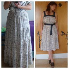 DIY From boring long skirt to nice summer dress Fra kedelig lang nederdel til sød sommerkjole www.solomors-univers.blogspot.com