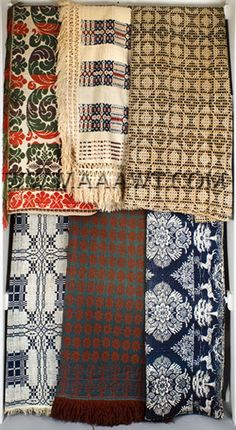 Antique Coverlets and Blankets, Group of Six, group entire view