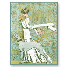Art Nouveau Greyhound and Lady with Flower Post Card from Zazzle.com
