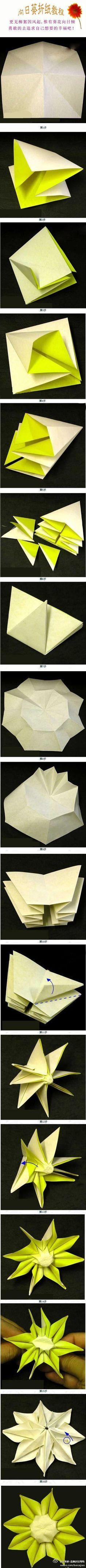 Paper sunflower origami
