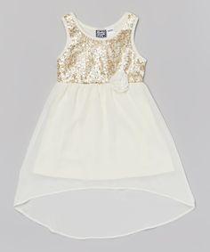 Pogo Club Natural Sequin Lizzie Hi-Low Dress - Girls | zulily