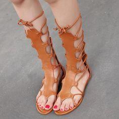 PU Cross Strap Hollow Women's High Shaft Sandals