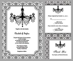 Black and White Chandelier Wedding Invitation | Printable Invitation Kits