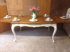 large shabby chic rustic farmhouse oak kitchen dining table