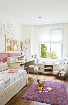 Modern kids room design and decorating ideas create comfortable, functional, ergonomic and healthy environment for children to play, sleep and do their homework Childrens Bedroom Decor, Kids Room Design, Teen Girl Bedrooms, Little Girl Rooms, Room Inspiration, Home Decor, Modern Kids, Room Window, Window Seats
