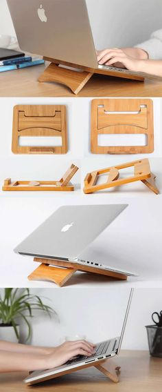 Foldable and Portable Wooden Laptop Folding Stand Holder for Apple MacBook Tablets iPad PC Laptop