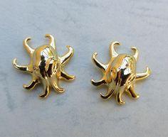 Stunning Rhodium Plated Octopus Earrings octopus jewelry