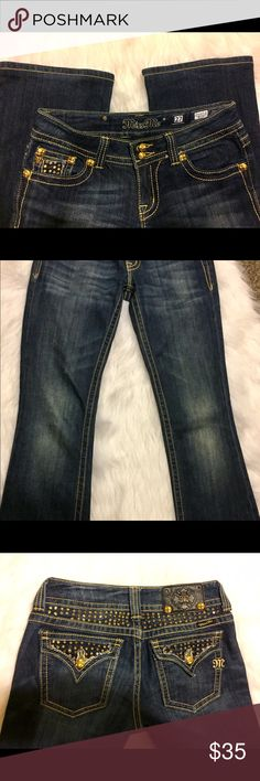 Miss Me Jeans Rare Bootcut with Gold Embellishment Miss Me Jeans Rare Bootcut with Gold Embellishment the patch has two top missing buttons so price has been reduced. Like new otherwise Miss Me Jeans Boot Cut