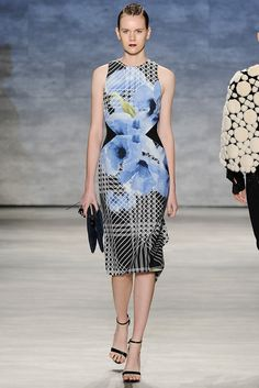 Bibhu Mohapatra | Spring 2015 Ready-to-Wear | 25 Blue/black floral sleeveless midi dress