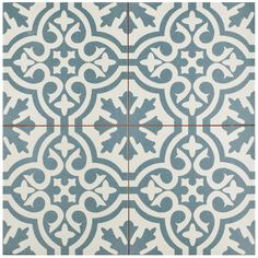 The SomerTile Tudor Blue Ceramic Floor and Wall Tile captures the artisanal look of cement tiles. This matte tile features an old-world teal pattern which recreates an encaustic loo Bathroom Floor Tiles, Wall Tiles, Tile Floor, Cement Tiles, Vinyl Tiles, Room Tiles, House Tiles, Wall Patterns, Kitchen Flooring