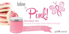 Give Back when you throwback with a Gold Canyon classic: Pink Sugar Cookie! of all PSC purchases will go to the Breast Cancer Research Foundation. Scented Candles, Candle Jars, Candle Holders, Gold Canyon Candles, Pink Sugar, Breast Cancer, Foundation, Cookie, Fragrance