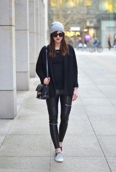 Zara Grey Slip Ons, Proenza Schouler Bag, Zara Biker Pants, Grey H&M Beanie,