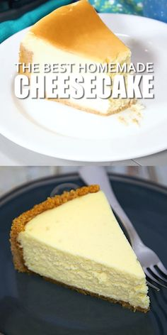 The Best Homemade Cheesecake - get the secret for the lightest and fluffiest cheesecake ever! Homemade graham cracker crust filled with cream cheese eggs sugar vanilla and lemon juice. This is seriously the BEST! Can make in advance and freeze for later. Easy Cheesecake Recipes, Cheesecake Desserts, Woolworth Cheesecake Recipe, Best Homemade Cheesecake Recipe, Original Cheesecake Recipe, Cheescake Recipe, Tiramisu Cheesecake, Chocolate Cheesecake Recipes, Banana Pudding Recipes