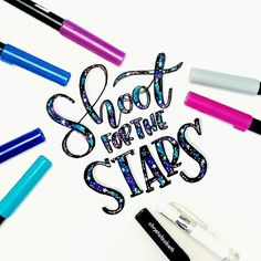 Shoot for the stars ✨💙 I tried doing the galaxy effect with my Tombows. I think I did ok. 😊💕 the white pen is the Uni-Ball Signo White Gel Pen - Day 28 of . Watercolor Calligraphy Quotes, Calligraphy Quotes Doodles, Brush Lettering Quotes, Hand Lettering Quotes, Doodle Lettering, Creative Lettering, Typography Letters, Lettering Ideas, Joelle