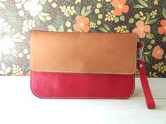 Leather wristlet  clutch snake embossed red leather by TinyDaisy, $38.00