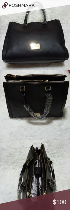 NWT bebe Alexis Monogram Triple Entry Tote Black Brand: bebe Size: Large Color: Black Style: Monogram Triple Entry Tote Condition: NWT Length:  14 Width: 17.5 Height: 11.5  Buyers can expect: Careful packaging, Fast shipping, & Delivery confirmation with each item purchased! PET FREE & SMOKE-FREE HOME. Please note: Due to lighting/monitors, the items colours may be slightly differ w/ the picture. Please bundle to save more. bebe Bags Totes