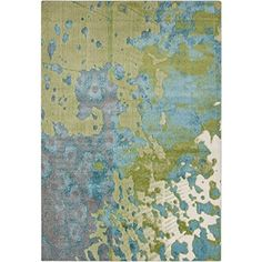 515 x 75 Painted Landscape Lime Green and Steel Blue Area Throw Rug -- This is an Amazon Affiliate link. To view further for this item, visit the image link.
