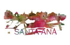 Santa Ana Art, Santa Ana Skyline, Santa Ana map, Santa Ana skyline, Santa Ana map print  A beautiful Watercolor Art print of Santa Ana,