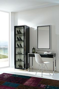 Spectacular Great way to store fancy shoes and I love the desk as a vanity
