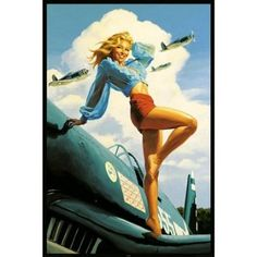 Greg Hildebrandt USA Pin-Up on Airplane Art Print Poster - 24x36 is that perfect piece that matches your style, interests, and budget | pinupartsource | vintage pinup