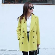 Lime Yellow Women Casual Office Chic Trendy Modern coat jacket outer winter