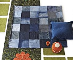 Denim Picnic Blanket:  Good idea for reusing old worn out jeans.  My squares are already cut out, awaiting some thread