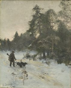 """The Hunter"" c.1891 - Bruno Liljefors"