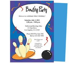 Free Bowling Party Invitations Templates With Blue Background ...