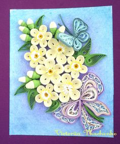 Quilling greeting card in violet frame