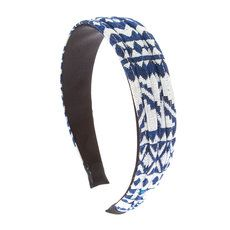 Navy and White Aztec Print Ruched Wide Headband