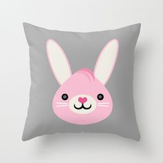 Throw Pillow Cover  Cute Bunny  Gray Pink White  16x16 by adidit