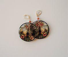 Butterfly, stained glass style, Boho Chic,Inspirational Earrings,Dangle Earrings,Resin Earrings,Colorful Earrings,Resin Jewelry by angel4eva on Etsy
