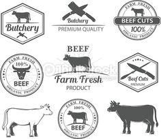 Vector Art : logos for butcher shop and graphic outline cows